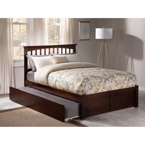 76c73b017057 Mission Full Platform Bed with Flat Panel Foot Board and Twin Size Urban Trundle  Bed in
