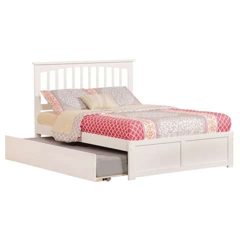 Mission Full Platform Bed with Flat Panel Foot Board and Twin Size Urban Trundle Bed in White