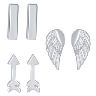 La Preciosa Sterling Silver Fashion Stud Earring Set