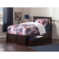 Mission Twin Platform Bed with Flat Panel Foot Board and 2 Urban Bed Drawers in Espresso