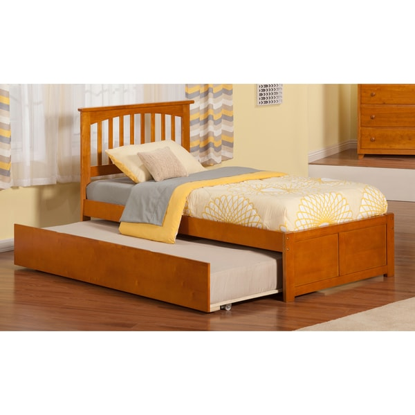 Atlantic Mission Caramel Latte Finish Twin-size Bed With Flat-panel Footboard and Urban Trundle