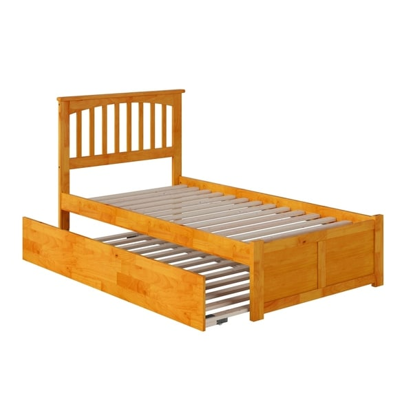 Mission Twin Platform Bed with Flat Panel Foot Board and Twin Size Urban Trundle Bed in Caramel