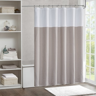 Madison Park Carson Jacquard With Solid Pieced Shower Curtain 3-Color Option