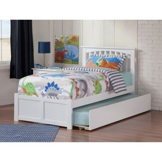 Mission Twin Platform Bed with Flat Panel Foot Board and Twin Size Urban Trundle Bed in White