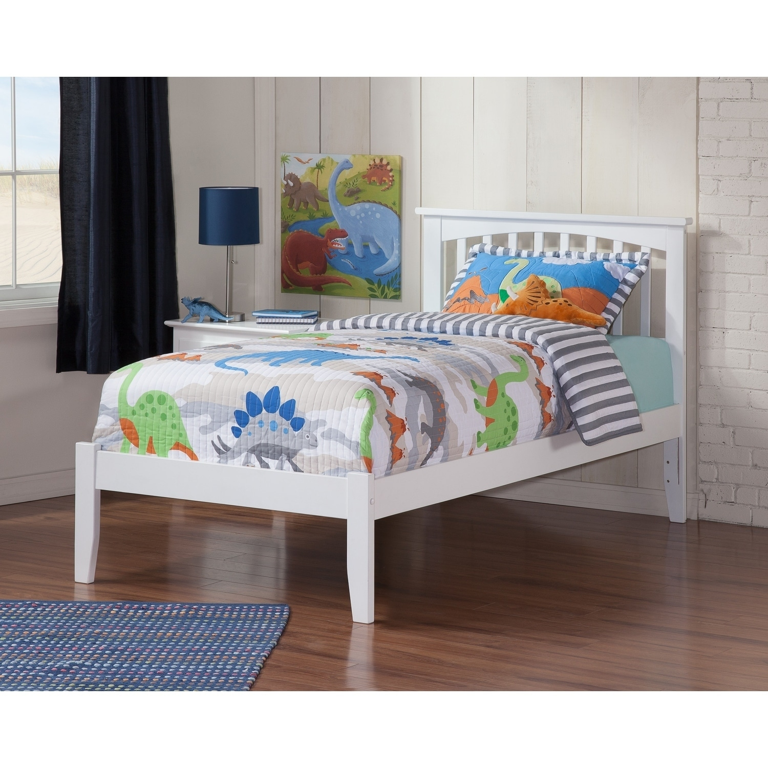 Atlantic Mission White Twin-size Open-foot Bed (Size & Co...