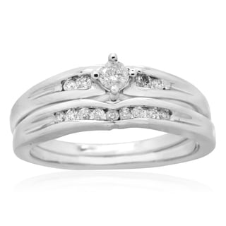 10k White Gold 1/4ct TDW Round Diamond Channel-set Bridal Set