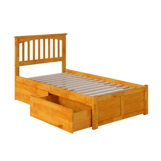 Mission Twin XL Platform Bed with Flat Panel Foot Board and 2 Urban Bed Drawers in Caramel
