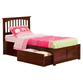 Mission Walnut Twin XL Flat Panel Foot Board Bed with Two Urban Bed Drawers