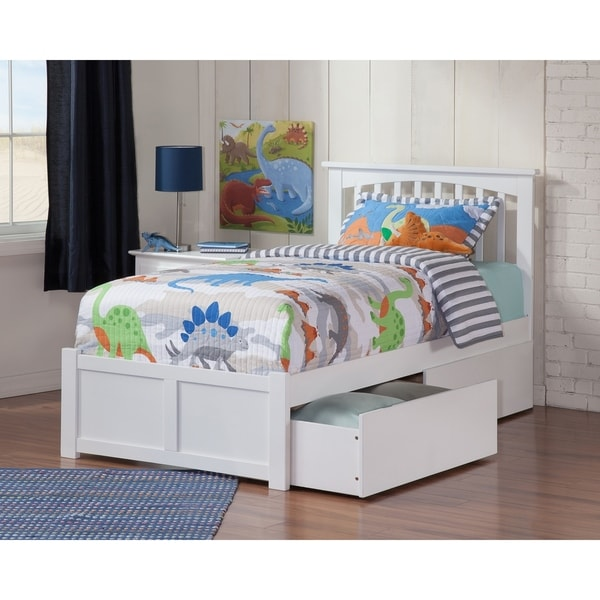 Mission Twin XL Platform Bed with Flat Panel Foot Board and 2 Urban Bed Drawers in White