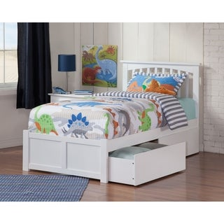 Atlantic Mission White Twin XL Bed With Flat-panel Footboard and 2 Under-bed Drawers