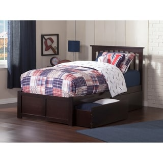 Mission Twin XL Platform Bed with Flat Panel Foot Board and 2 Urban Bed Drawers in Espresso