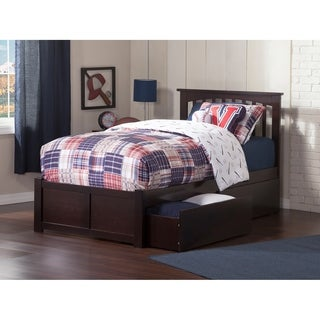 Atlantic 'Mission' Espresso Wood Twin XL Bed XL with Flat-panel Foot Board and 2 Urban Drawers