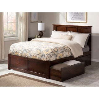 Madison Full Platform Bed with Flat Panel Foot Board and 2 Urban Bed Drawers in Walnut