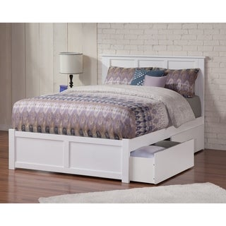 Link to Madison Full Platform Bed with Flat Panel Foot Board and 2 Urban Bed Drawers in White Similar Items in Bedroom Furniture