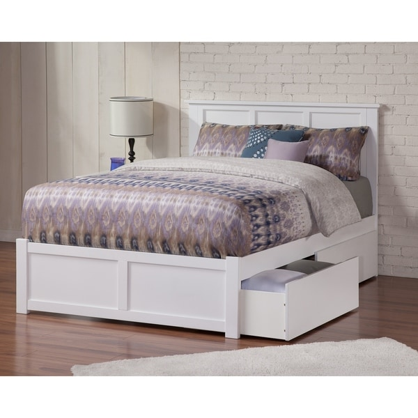 Madison Full Platform Bed with Flat Panel Foot Board and 2 Urban Bed Drawers in White. Opens flyout.