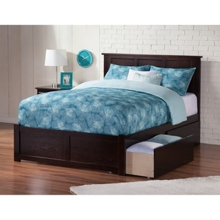 Atlantic Kids' Madison Espresso Full Flat-panel Footboard Platform Bed with 2 Urban Bed Drawers