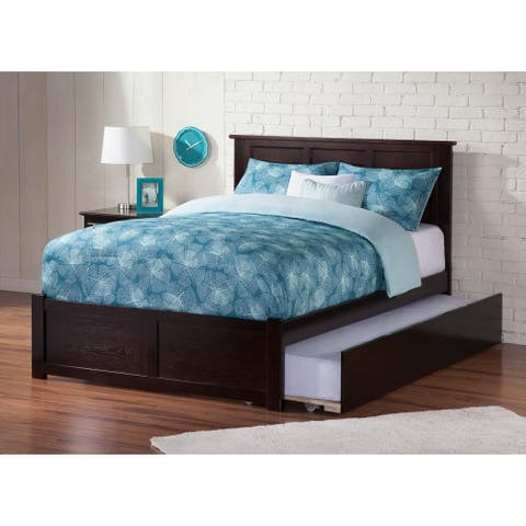 Madison Full Platform Bed with Flat Panel Foot Board and Twin Size Urban Trundle Bed in Espresso