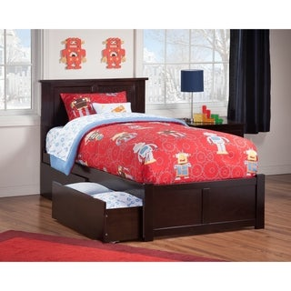 Madison Twin Platform Bed with Flat Panel Foot Board and 2 Urban Bed Drawers in Espresso