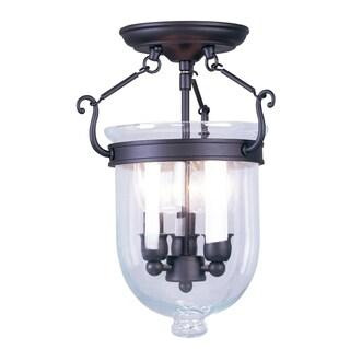 Jefferson Black Steel Glass Ceiling Mount Fixture
