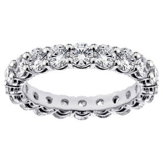 14k White Gold Eternity Wedding Band with Shared-Prong, Round-Cut Diamonds (2.88-3.52 ct)