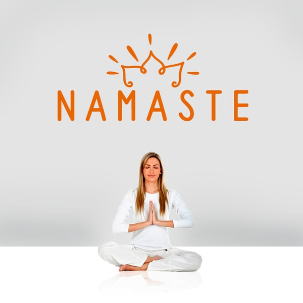 "Namaste Wall Decal - 48"" wide x 22"" tall"