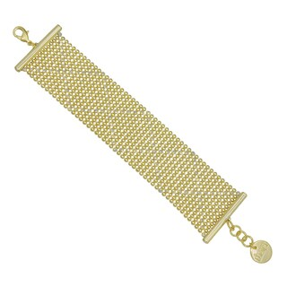 Isla Simone - 18k Gold Electro Plated Two Tone Perline With Laser Cut 36Mm Bracelet