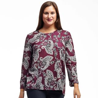 La Cera Women's Blue/Purple Rayon and Spandex Printed Pullover Top