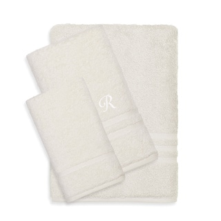 Authentic Hotel and Spa Omni Turkish Cotton Terry 3-piece Cream Bath Towel Set with White Script Monogrammed Initial