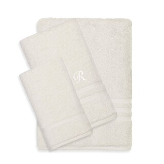 Authentic Hotel and Spa Omni Turkish Cotton Terry 3-piece Cream Bath Towel Set with White Script Monogrammed Initial (More options available)