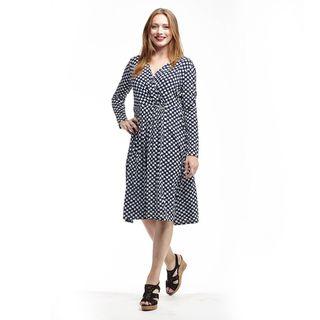 La Cera Women's Blue/White Polyester/Spandex Printed Dress