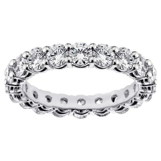 Platinum 3 1/5ct TDW Shared Prong Round Diamond Eternity Wedding Band (G-H, SI1-SI2)