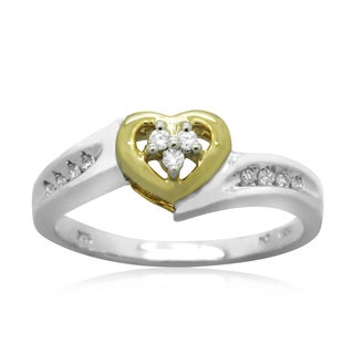 10k Two-tone Gold 1/10ct TDW Round Diamond Heart Promise Ring