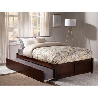 Concord Full Platform Bed with Flat Panel Foot Board and Twin Size Urban Trundle Bed in Walnut