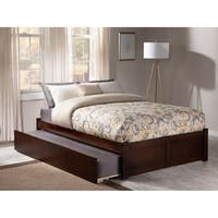Concord Walnut Full Flat-panel Bed with Foot Board and Urban Trundle