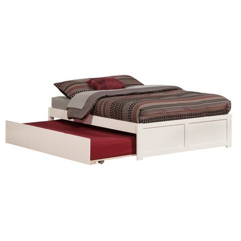 Concord Full Platform Bed with Flat Panel Foot Board and Twin Size Urban Trundle Bed in White