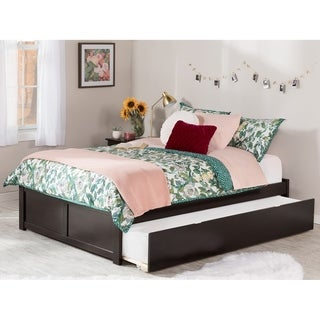 Concord Full Platform Bed with Flat Panel Foot Board and Twin Size Urban Trundle Bed in Espresso