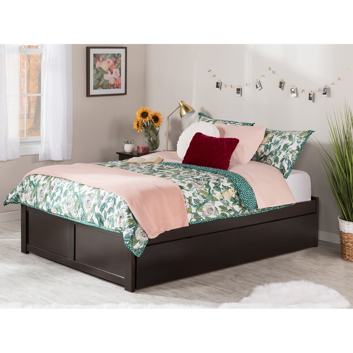 best website fab7c 98f6d Concord Full Platform Bed with Flat Panel Foot Board and Twin Size Urban  Trundle Bed in Espresso