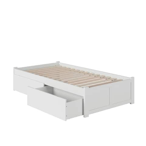 Concord Twin Platform Bed with Flat Panel Foot Board and 2 Urban Bed Drawers in White