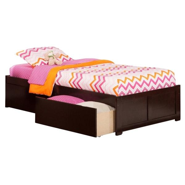 Atlantic Concord Espresso Twin Flat-panel Footboard 2-drawer Bed