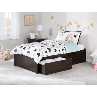 Atlantic Concord Espresso Twin Flat-panel Footboard 2-drawer Bed