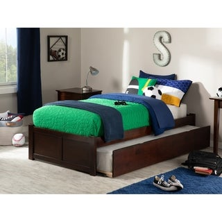 Concord Twin Platform Bed with Flat Panel Foot Board and Twin Size Urban Trundle Bed in Walnut