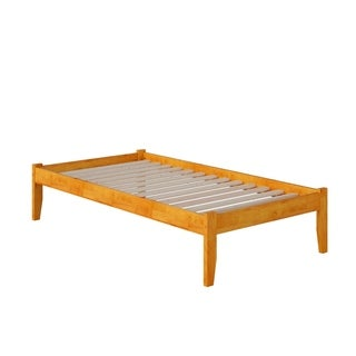Concord Twin Platform Bed with Open Foot Board in Caramel