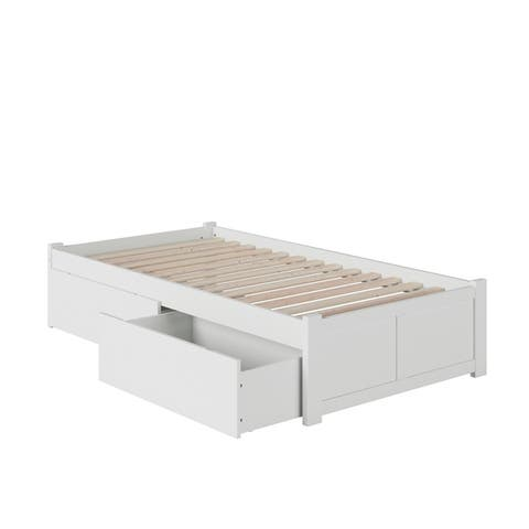Concord Twin XL Platform Bed with Flat Panel Foot Board and 2 Urban Bed Drawers in White