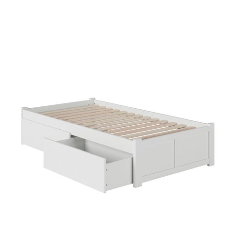 Concord Twin XL Bed with Flat-panel Foot Board and 2 Urban Drawers in White