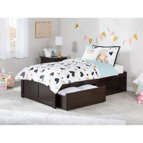 Concord Twin XL Platform Bed with Flat Panel Foot Board and 2 Urban Bed Drawers in Espresso