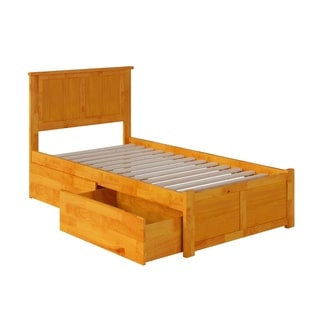 Madison Twin XL Platform Bed with Flat Panel Foot Board and 2 Urban Bed Drawers in Caramel