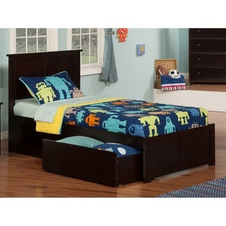 Madison Twin XL Platform Bed with Flat Panel Foot Board and 2 Urban Bed Drawers in Espresso