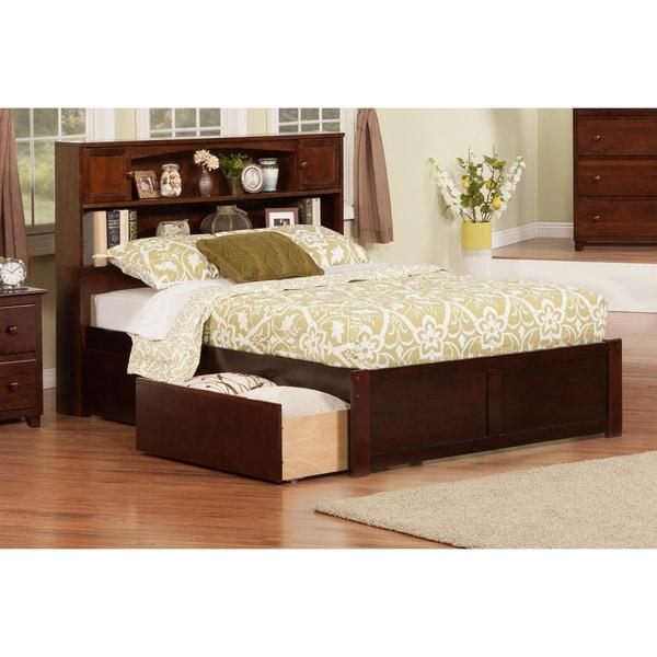 Atlantic Newport Walnut-finish Wood Full Bed with Flat-panel Foot Board and 2 Urban Drawers
