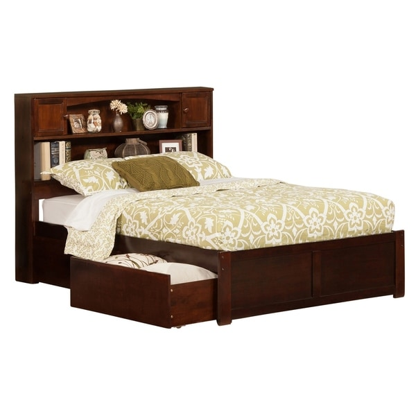 Newport Full Platform Bed with Flat Panel Foot Board and 2 Urban Bed Drawers in Walnut