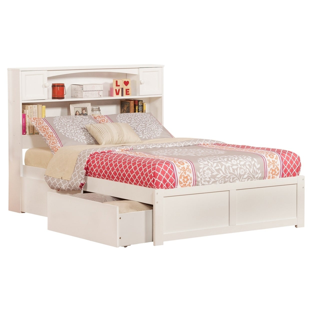 Shop Black Friday Deals On Newport Full Platform Bed With Flat Panel Foot Board And 2 Urban Bed Drawers In White Overstock 12852188